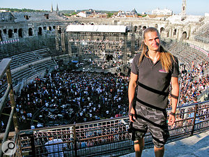 Perttu Korteniemi drove all the way from Finland to ask for a job at SSE in 2009. He now regularly works at serious high-profile events, such as this Blink 182 concert in the Nimes Coliseum in France.