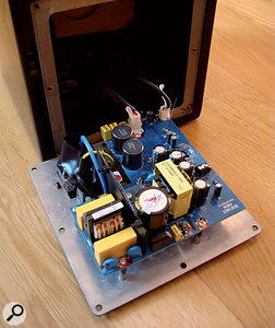 The C50A with its back panel removed, showing the 30W Class-D amplifier.