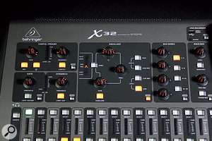 The channel-strip section on the top left of the desk provides access to the most frequently used channel settings, including EQ, compression, gating and preamp controls.