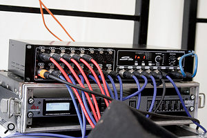 The S16 digital snake is capable of sending 16 channels from the stage to the mixer, and eight channels in the other direction, all via a single Cat 5 cable.