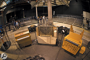 Here you can see the 'gameleste' (a celeste fitted with aMIDI gamelan) on the left, and two pipe organs used for the Biophilia tour.