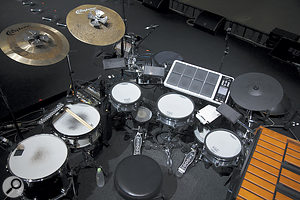Drummer Manu Delago's percussion setup comprises a mix of acoustic and electronic drums and, visible to the right, a Xylosynth.