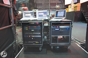 The Muse Research Receptor in the right-hand rack stores percussion samples and is triggered by Manu's V-Drum kit. In the rack on the left are the MOTU 828s, which outputs audio from Matt's Ableton rig, and the MIDI Timepiece that keeps everything in sync.