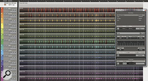 Using an example file supplied by Steinberg, here you can see how Cubase creates slices on amultitrack drum recording. The white lines indicate where the audio events will be sliced, and the red lines show from which event the slice will be derived.