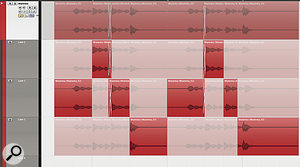 Here you can see the new lane editing tools being used to comp a marimba part. Notice how Cubase compiles a master take on the main audio track, reflecting the different sections of the three takes that have been chosen. And since all the takes are audio events, you can also perform crossfades where necessary.