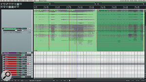 Jan Van Wieringen employs aworking approach in Reaper that he believes would not be possible in other DAWs. In these two screens, you can see an entire multi-miked orchestral recording treated as asingle track for editing purposes; the mics that are actually used in the mix have individual sends from this track, as shown in the mixer screen shot.