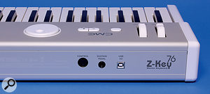 The rear panel is the same on all Z-Key models and continues the minimalist theme, featuring just aMIDI input, asustain-pedal socket and aUSB port.