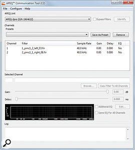 The Communication Tool is used to upload FIR coefficients to the APEQ hardware.