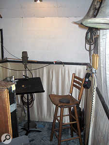 The 'vocal corner' in Cinderella Sound Studio B, with vintage RCA 77 ribbon mic.
