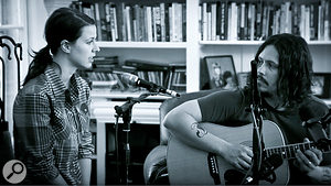 Joy Williams and John Paul White prepare to record a take. This shows the setup used in the 'sanctuary' at The Art House, with dynamic mics for both vocalists.