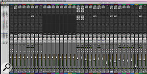 The Pro Tools Session from the album's title track. There are 17 audio tracks, on the right-hand side of the Mix window. These are grouped to the eight stereo outputs (centre), which fed the Dangerous Music summing mixer. Effects are returned on the aux tracks to the left of these.