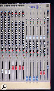 Here you can see the layouts for the mono and stereo input channel strips (with white and red fader caps, respectively), the four mono buses (blue caps), the two stereo aux returns (red caps) and the master section (grey cap). Unusually, the six aux masters are controlled via faders, rather than knobs.