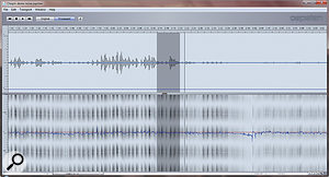 The initial correction data after analysing the audio.