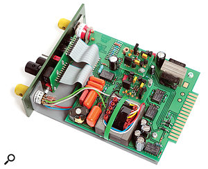 Two transformers, two discrete op-amps (on socketed daughterboards) and one inductor are the important parts inside the module.