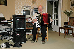 Charlie in his later days, playing his much–loved accordion.