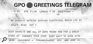 A telegram from T–Rex to Charlie Watkins.