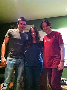 Chris Elms (left), Alanis Morissette and Guy Sigsworth during the initial making of Havoc And Bright Lights.