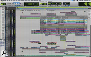 Joe Chiccarelli took the Sigsworth/Elms Pro Tools sessions as his starting point, adding numerous overdubs and replacement parts. The resulting sessions often ended up being, understandably, rather complex, as shown here by the Edit window from the song 'Woman Down'.