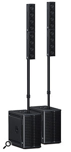 Though they may seem expensive, modern compact line-array systems are very easy to transport and can offer extremely good coverage and sound quality.