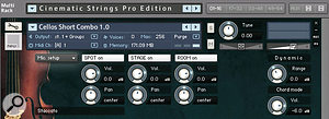 Cinematic Strings combination patches allow you to mix close, stage and hall microphone positions and control surround mixes within Kontakt.