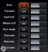 In CS 2.0, articulations can be very quickly loaded and unloaded by clicking their 'on' and 'off' buttons. To change the pitch of an articulation's keyswitch, shift‑click on the keyswitch button (which will turn orange), then play the note you want to assign to it.