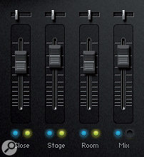 CS 2.0's new mic position mixer adds afourth 'mix' set to the three individual mikings. Note that, in this example, selecting the mix option has automatically muted the other three positions.