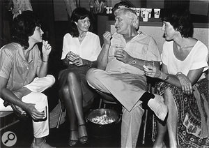 Charlie Rich with Columbia Records staff at the studio's closing party in 1982.
