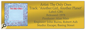 CLASSIC TRACKS: The Only Ones: 'Another Girl, Another Planet'