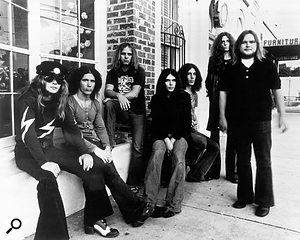 Lynyrd Skynyrd in 1973. From left to right; Leon Wilkeson, Billy Powell, Ronnie Van Zant, Gary Rossington, Bob Burns, Allen Collins and Ed King.