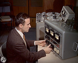 Engineer Ray Prickett in the control room of Pye's Studio 1. This and the following photos are taken from a1963 Pathé newsreel which featured the Searchers recording their hit single 'Sugar & Spice'. While the session was artificially recreated for the film, the pictures show afascinating view of Pye Studios as it was at the time 'Downtown' was recorded in the mid-1960s.
