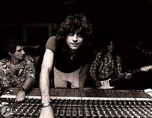 Recording Aerosmith. From left to right: Jack Douglas, Jay Messina and Joe Perry.