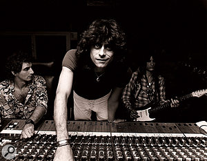 Recording Aerosmith. From left to right: Jack Douglas, Jay Messina and Joe Perry.