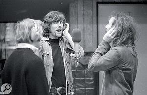 From left to right: Stephen Stills, Graham Nash and David Crosby at Wally Heider Studio 3, February 1969.