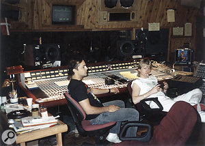 Flemming Rasmussen (right) and in‑house engineer Toby 'Rage' Wright in the One On One control room during the recording of ...AndJustice For All.