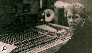 All of Martin Rushent's photographs of his Genetic Sound Studios were, sadly, destroyed in ahouse fire. This photo, reproduced from newsprint, shows him sitting at his beloved MCI desk.