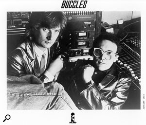 Trevor Horn and Geoff Downes at Sarm East, 1979. They are standing beside the Trident TSM console used to record 'Video Killed The Radio Star'.