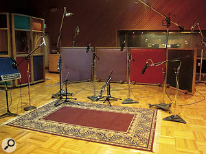 The drum mic setup in Fantasy's Studio A as it was for the recording of Dookie. This includes a pair of Telefunken tube 251s as overheads, an AKG D112 and a 421 for the kick, an SM57 on top of the snare and an AKG 451 underneath, Sennheiser MD421s for the toms (AKG 414s were also used) and Neumann M49s for the room.