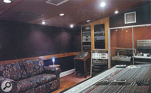 The control room at RG Jones, again from the 1985 studio brochure. In the foreground is the SSL E‑series console and, behind the glass doors at the back, the Studer tape recorders used on 'Take On Me'.