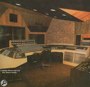 An old Helios brochure showing the desk that Richard Branson bought for the Manor's control room with some of the profits from Tubular Bells.