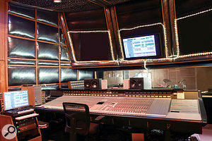 The control room at Tarpan is still based around an SSL G Series console. The studio's Studer A80 tape machines are just visible behind the desk.