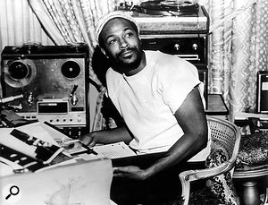 Marvin Gaye at work on a song, 1971.
