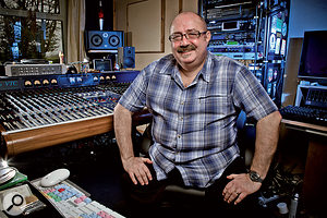 Chris Tsangarides in the control room of his Ecology Room Studios.