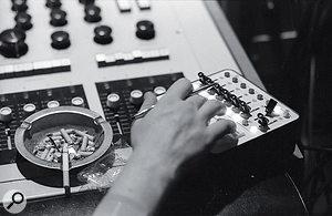 Studio 3's 16‑track FrankDiMedio custom‑designed valve console and the remotecontrol for the 3M tape machine.