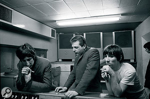 Shel Talmy in the studio with the Who's Pete Townshend and Keith Moon.