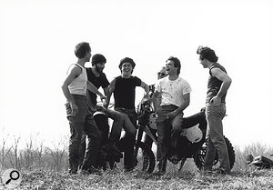 John Mellencamp relaxing with his band, 1983.