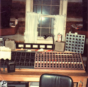 The monitor and mixdown section of the console at Young'un Sound, where 'I Can Help' was recorded. A few of the Universal Audio input modules are on the left. Note the talkback switch mounted in a Budweiser can!
