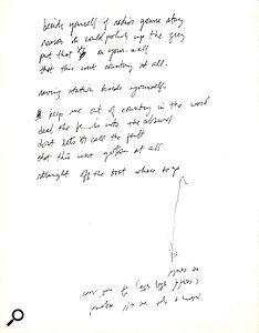 At the time of the first recording of 'Radio Free Europe' the lyrics were still incomplete. Michael Stipe used the back of the track sheet to make some notes.
