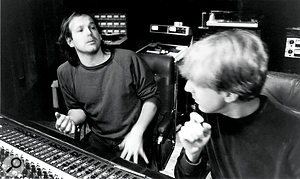 Don Dixon (left) and Mitch Easter at Reflection Studios, early 1983.