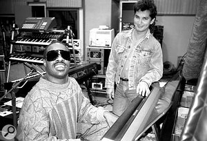 Stevie Wonder and Gary Olazabal in Wonder's Wonderland Studio, 1986.