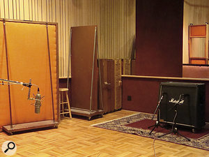 The mic setup for recording Billie Joe Armstrong's guitar overdubs in Fantasy's Studio B. The Marshall cab's two best cones are miked with an SM57 and aSennheiser MD421. To the left you can see aU87 being used as aroom mic.